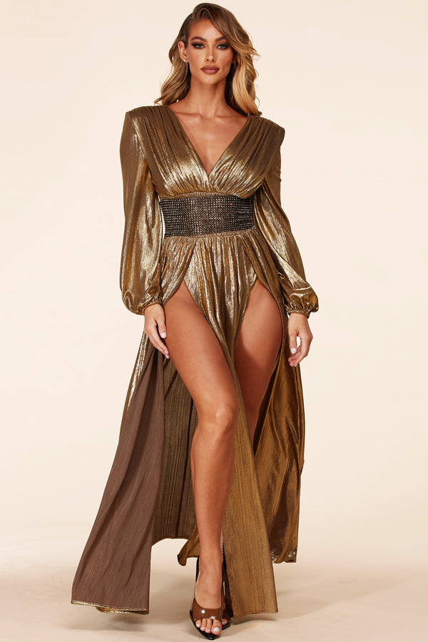 Athena Gold Maxi Dress