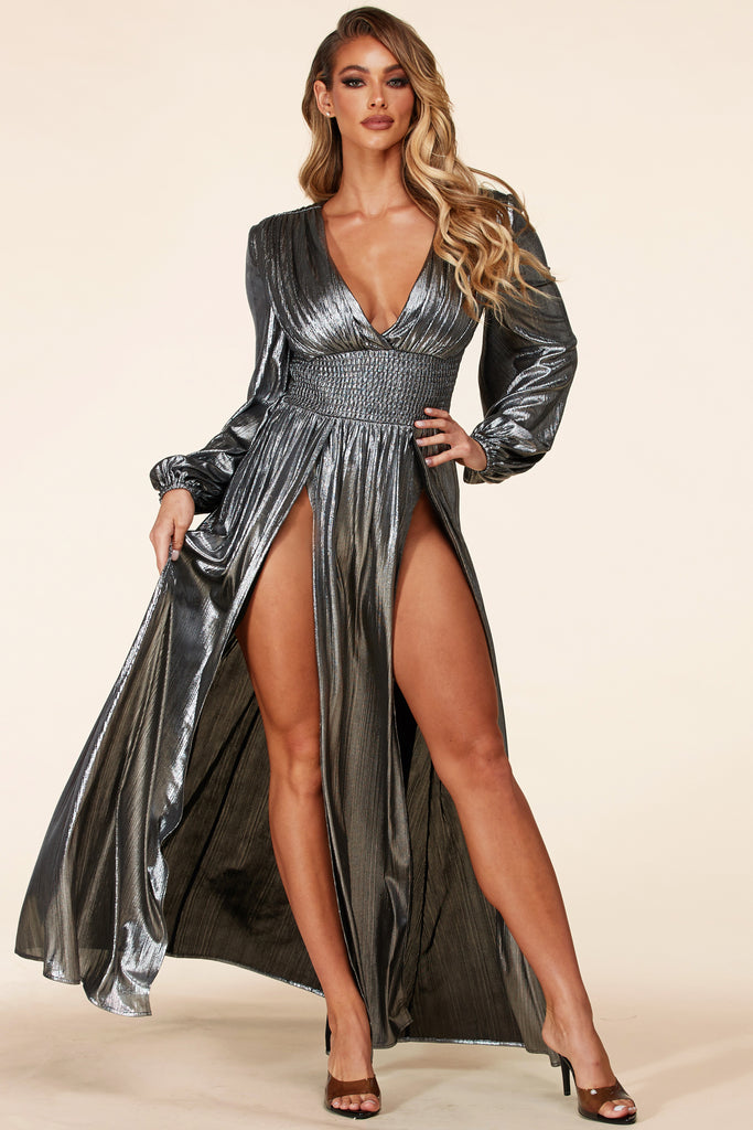 Aphrodite Silver Maxi Dress