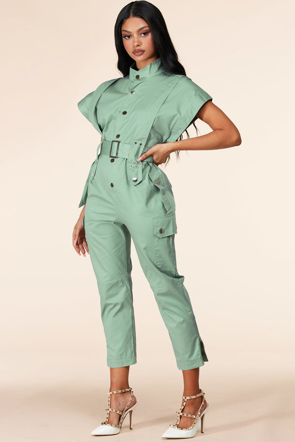 Switching Gears Mint Jumpsuit