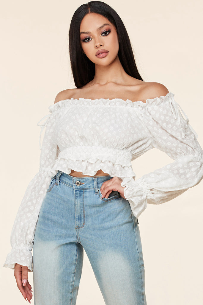 Daisy Embroidered Off Shoulder Crop Top