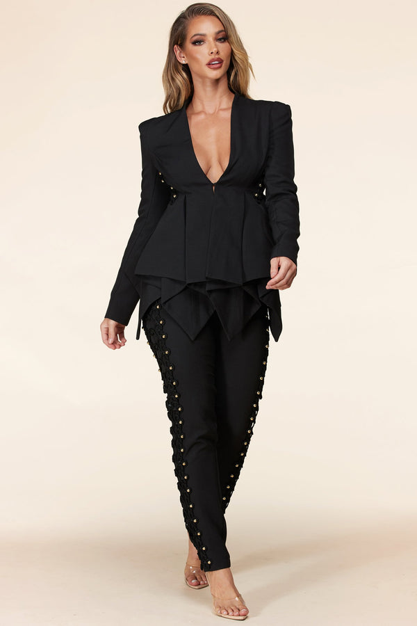 Black Napoleon Pantsuit Set