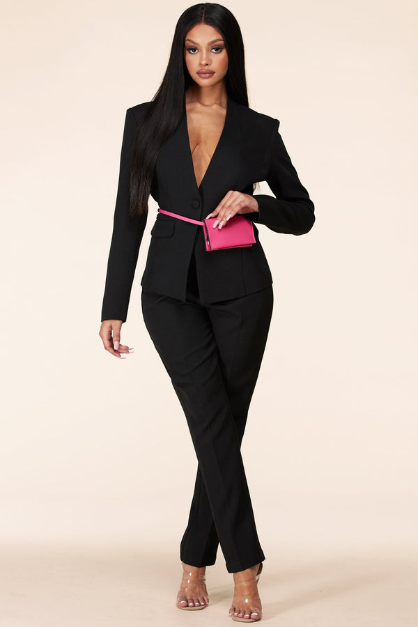 Pop of Color Clutch Pant Suit Set