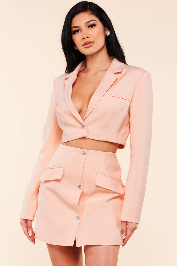 Blush Rhinestone Two-Piece Set