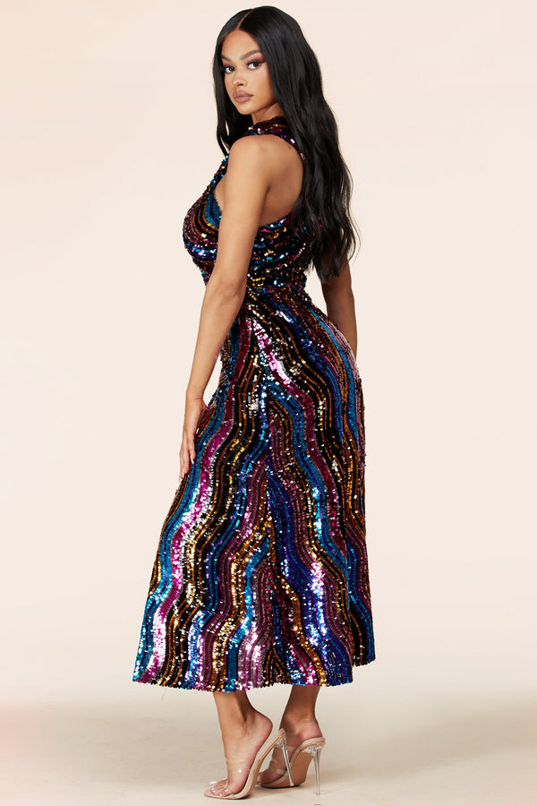 Riley Multi Sequin Midi Dress