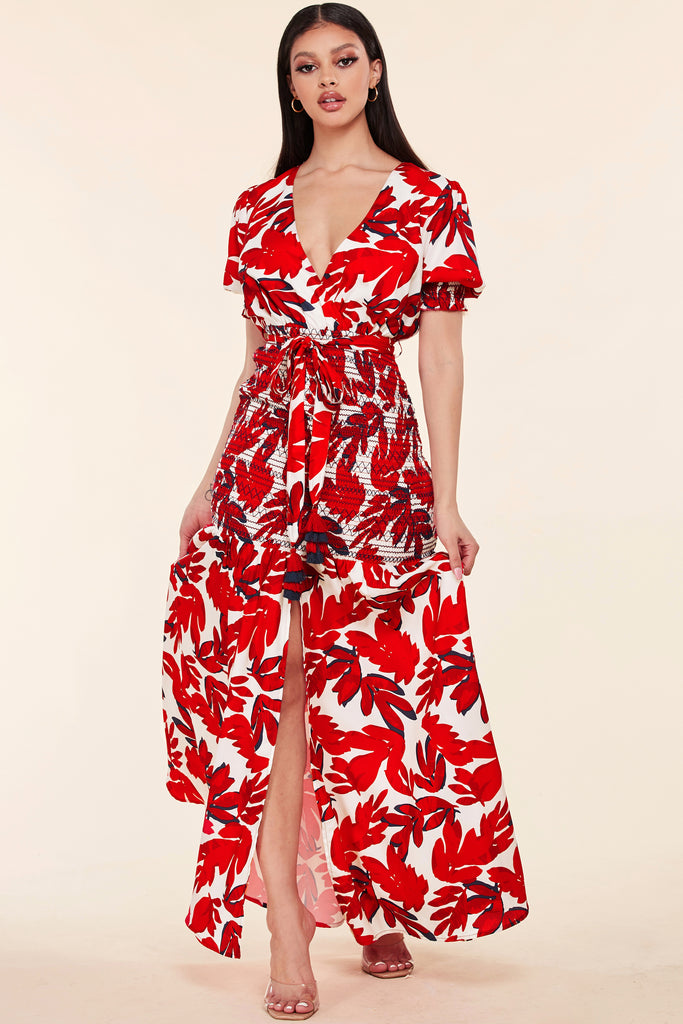 Deborah Red Leaf Maxi Dress