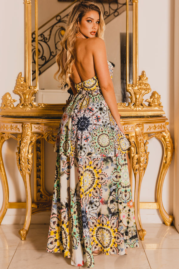 Kaleidoscope High-Low Maxi Dress