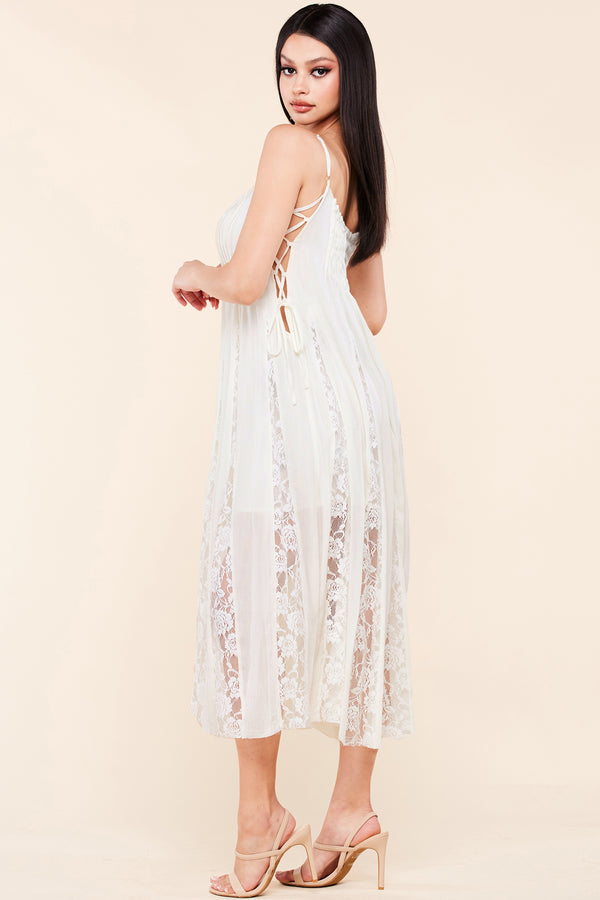 Boho Lace Panel Slip Dress