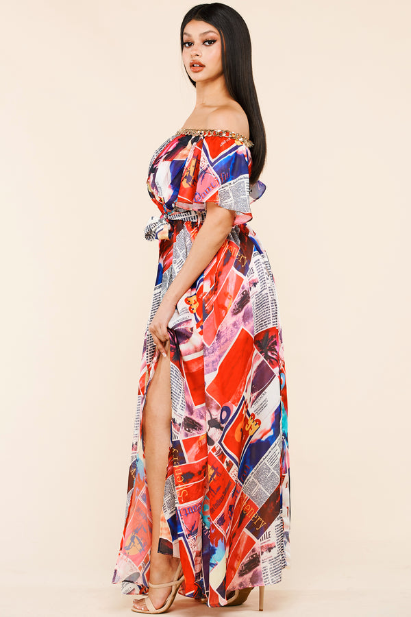 Newspaper Print Chain Trim Maxi Dress