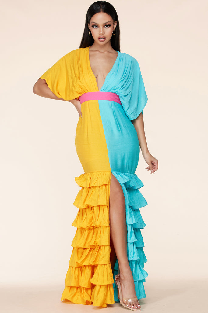 Zulema Two-Tone Ruffle Maxi Dress