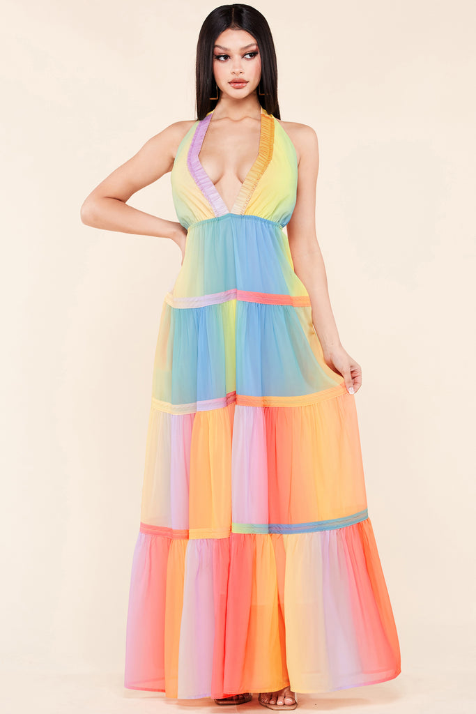 Carnival Of Neons Maxi Dress
