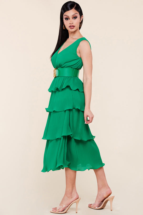 Amber Belted Pleated Midi Dress-Green