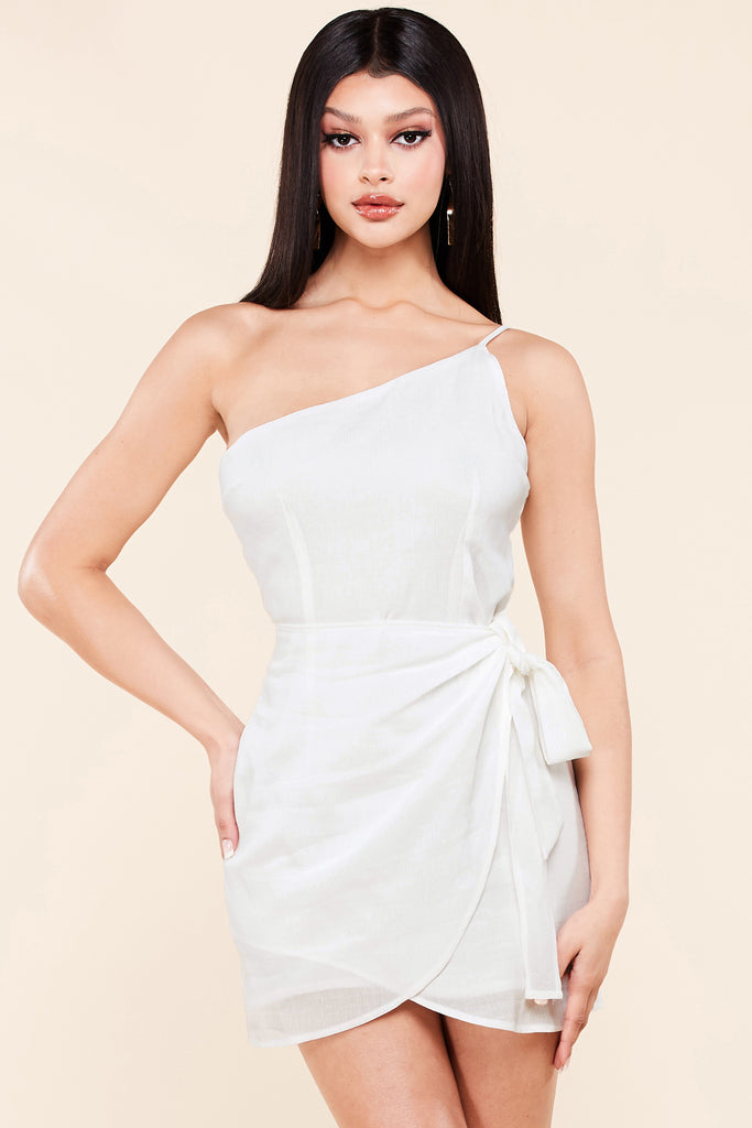 Casual One Shoulder Mini Dress-White