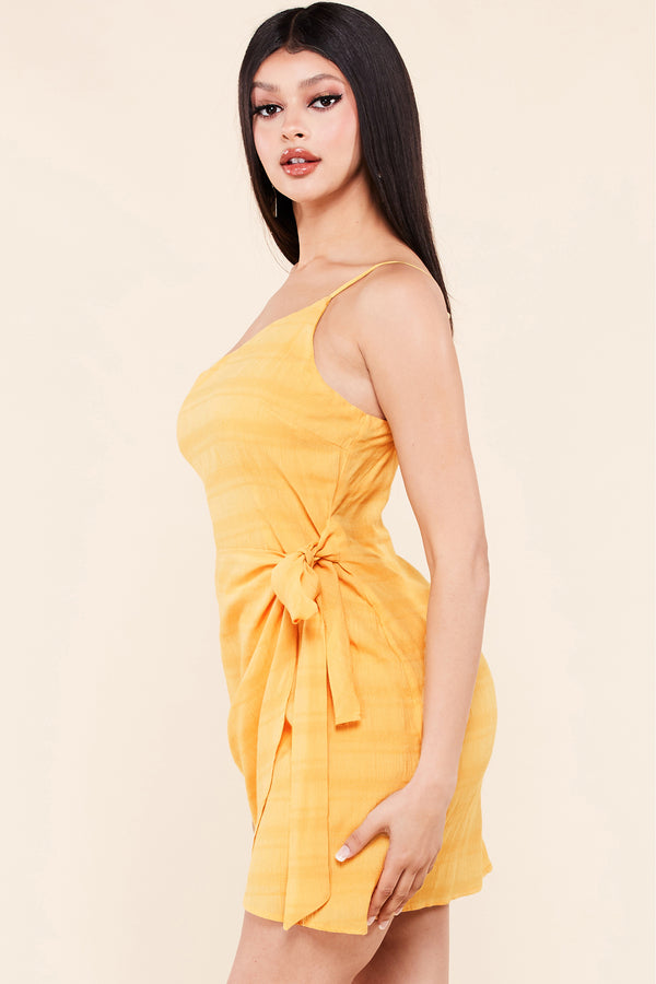 Casual One Shoulder Mini Dress-Dijon Yellow