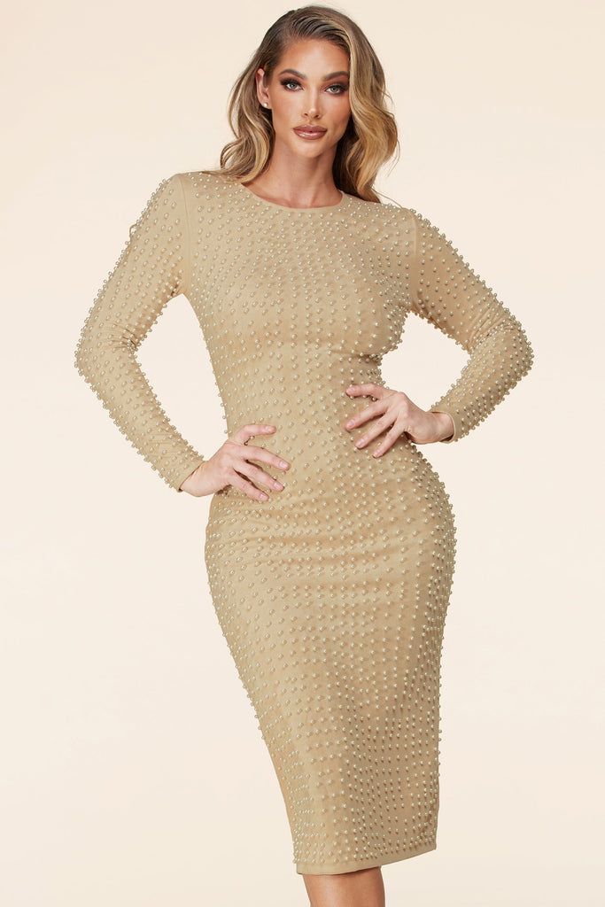 Faux Suede Pearl Midi Dress-Natural Beige
