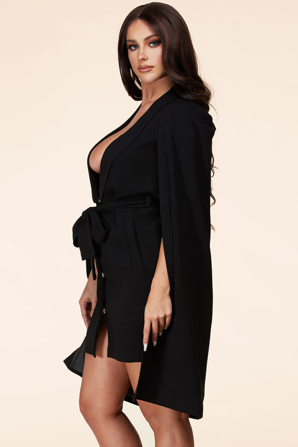 Fly Me To The Moon Mini Dress (Black)