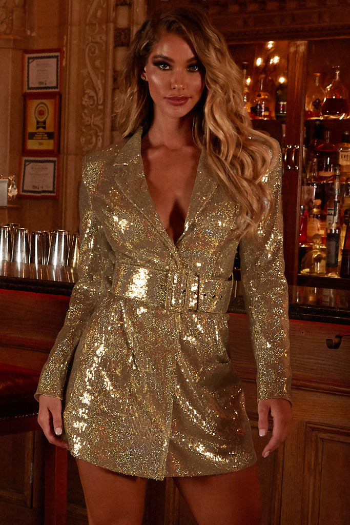 Shimmer On Mini Dress (Gold)