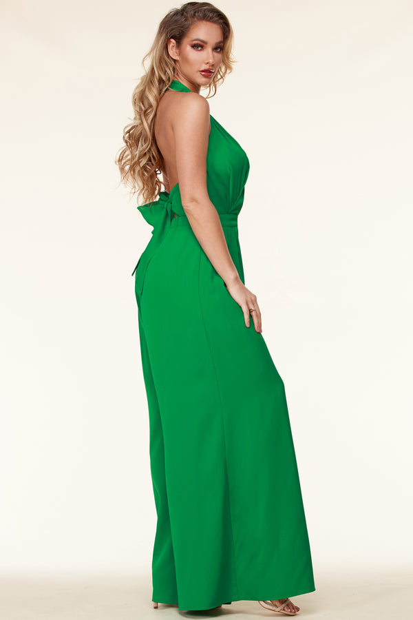 Surplice Wrap Palazzo Jumpsuit-Green