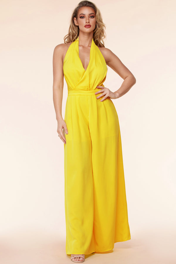 Surplice Wrap Palazzo Jumpsuit-Yellow