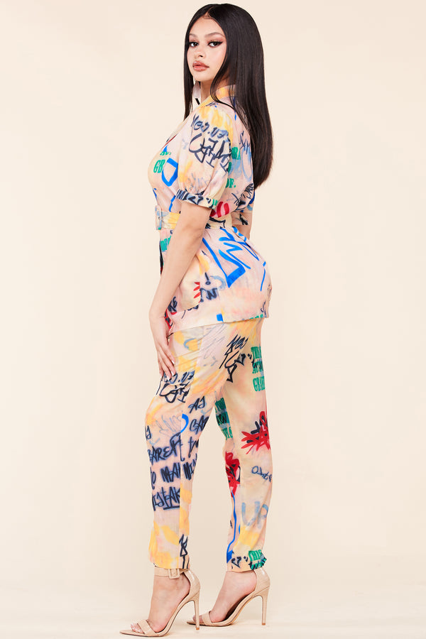 Downtown Graffiti Pant Suit Set