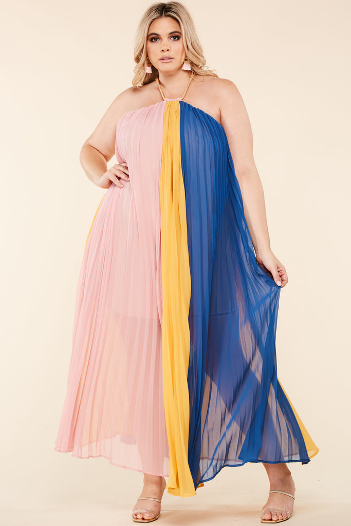 Plus Blue Yellow Trapeze Maxi Dress