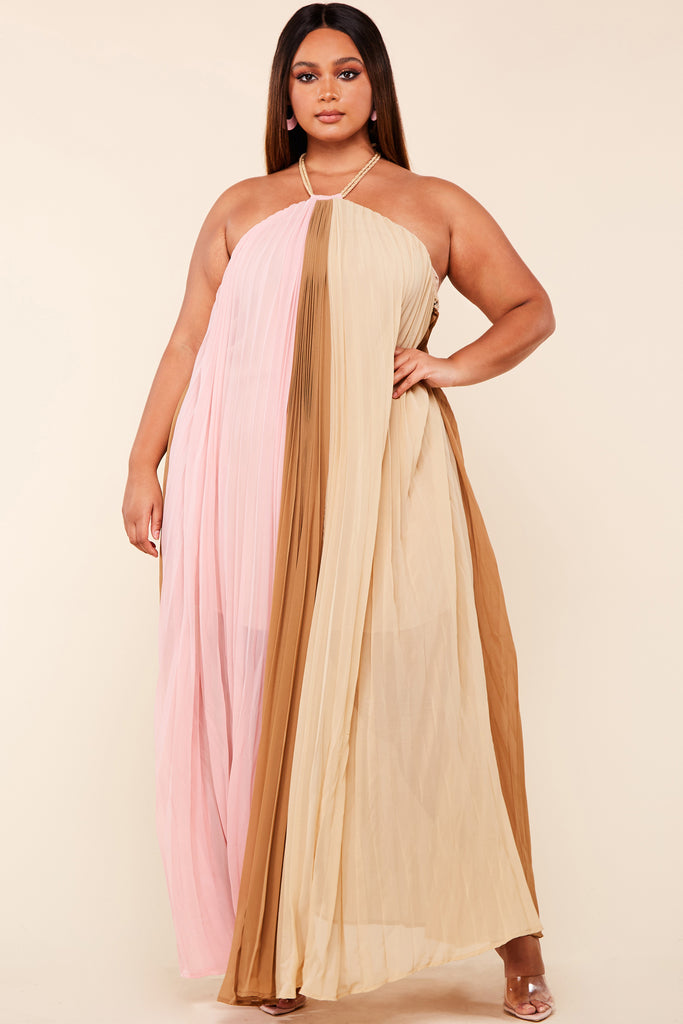 Plus Pink Taupe Trapeze Maxi Dress