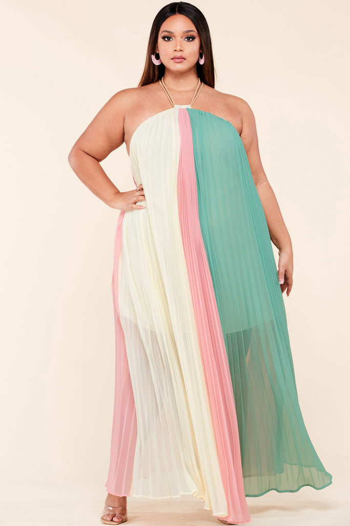 Plus Cream Blush Trapeze Maxi Dress