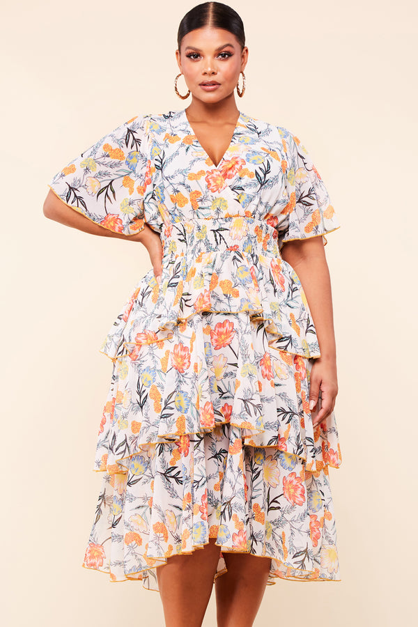 Plus Orange Tiered Maxi Floral Dress