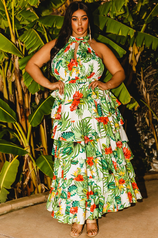 Plus Hibiscus Tropical Tiered Maxi Dress