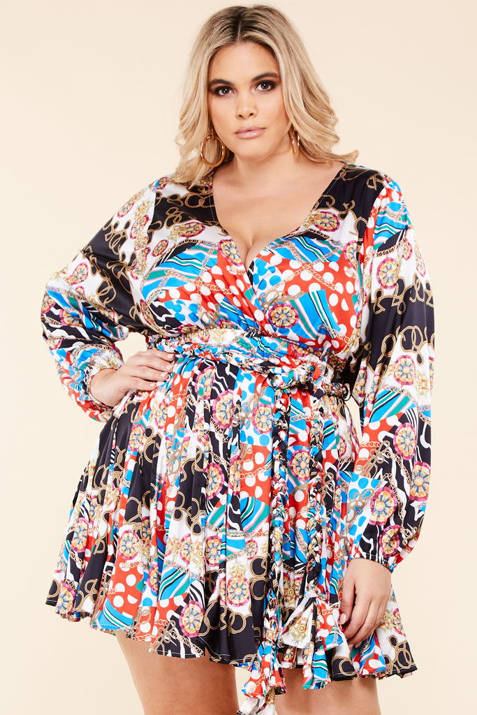 Plus Savanna Multi-Print Mini Dress