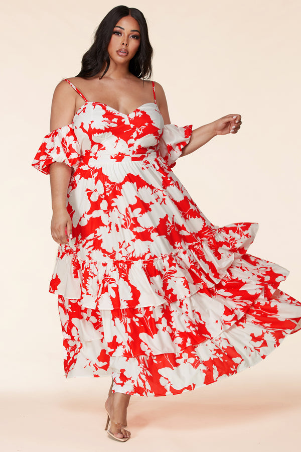 Plus Amanda Red Floral Maxi Dress