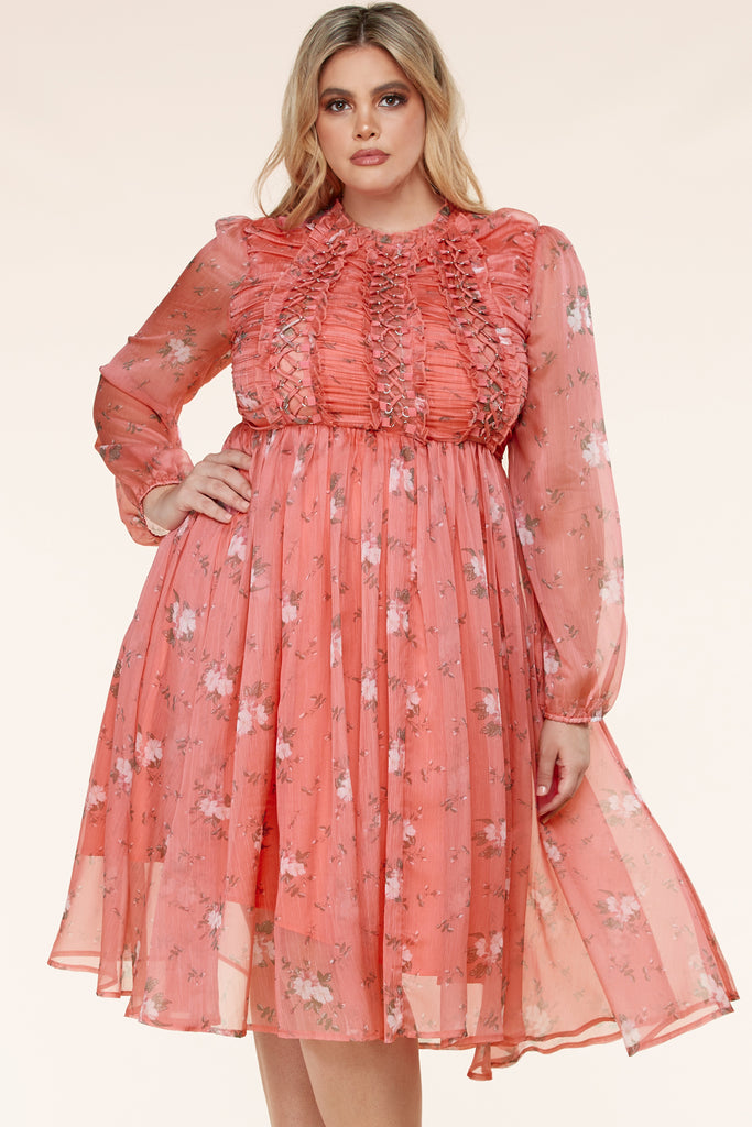 Plus Coral Summer Floral Print Dress