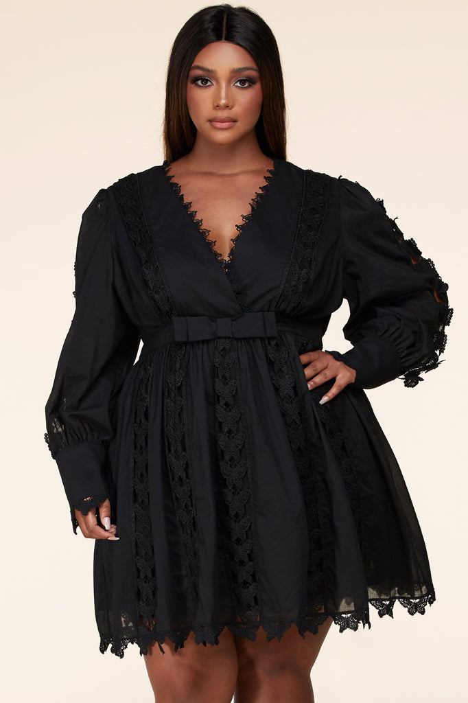 Plus Black Butterfly Lace Dress