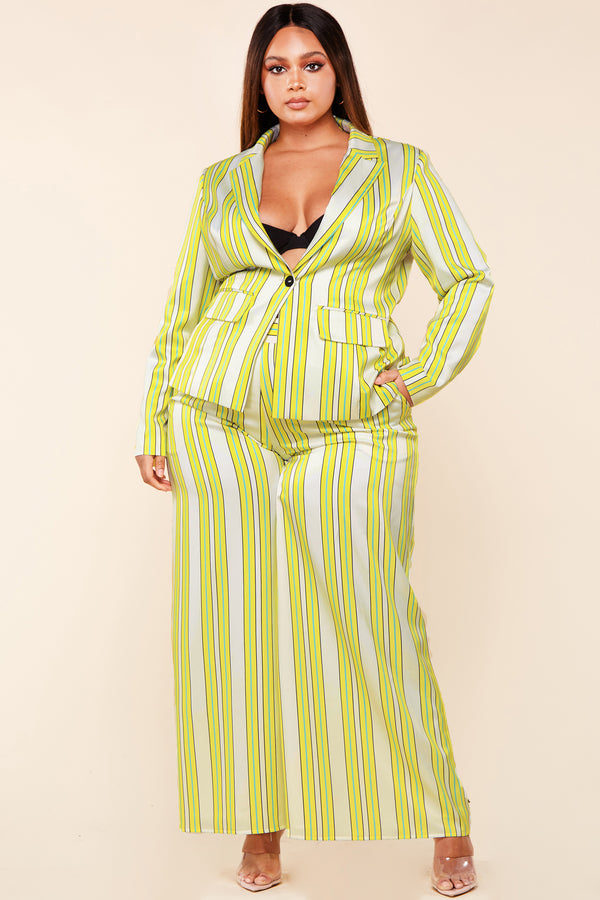 Plus Lime Yellow Stripe Pant Set
