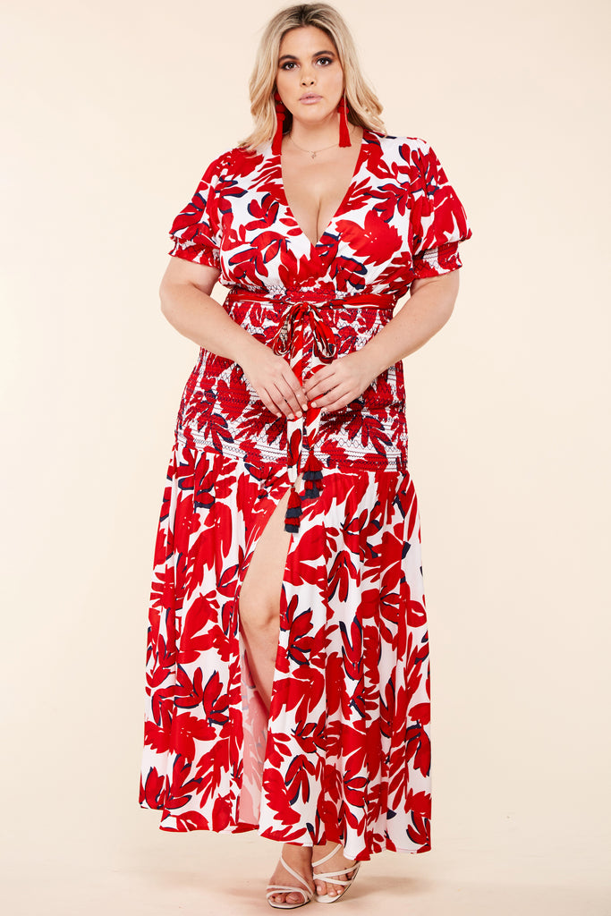 Plus Deborah Red Leaf Maxi Dress