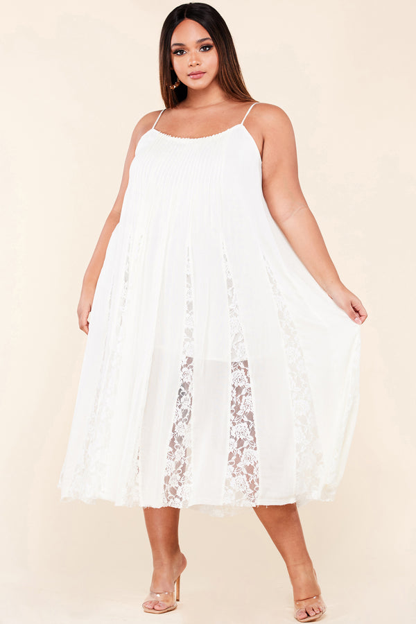 Plus Boho Lace Panel Slip Dress