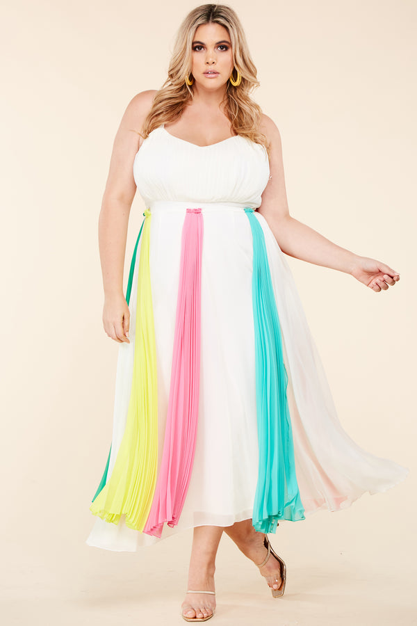 Plus Enchanting Pastels Midi Dress