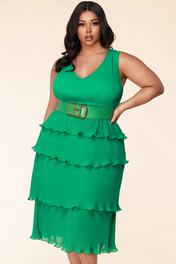 Plus Amber Belted Pleated Midi Dress-Green
