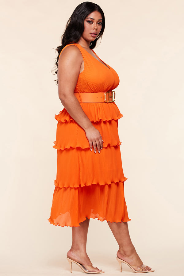 Plus Amber Belted Pleated Midi Dress-Orange