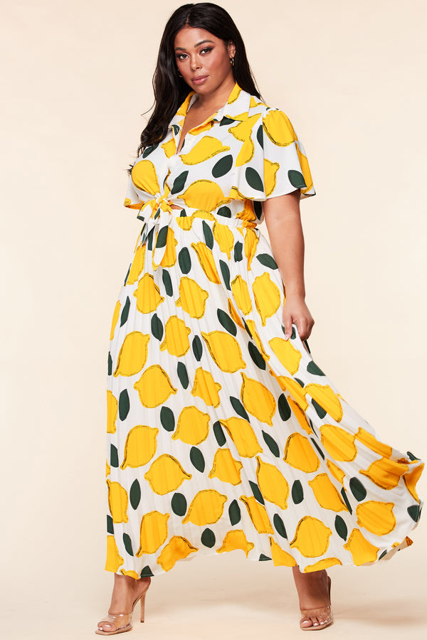 Plus Lemon Party Maxi Dress
