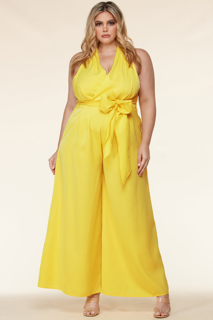 Plus Surplice Wrap Palazzo Jumpsuit -Yellow