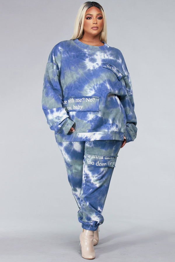 Plus Blue Tie-Dye Sweatshirt Set