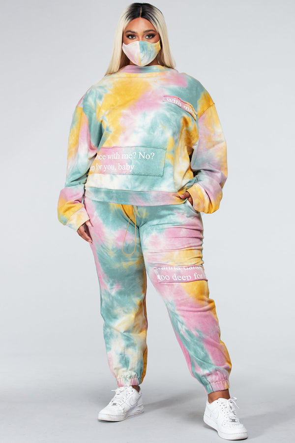 Plus Yellow Tie-Dye Sweatshirt Set