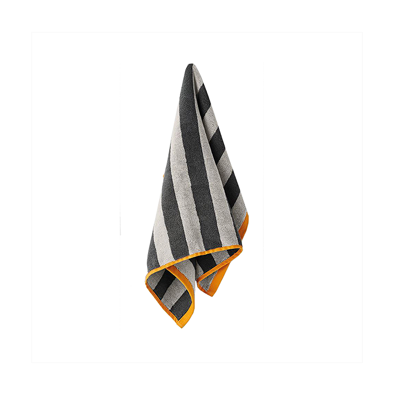 Stripes Hand Towel | Charcoal & Tangerine
