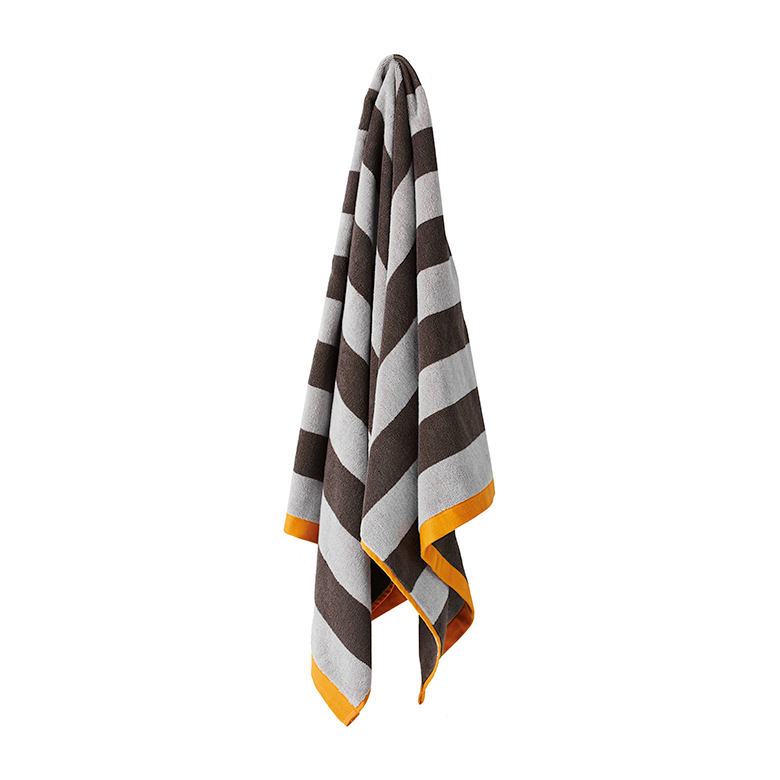 Stripes Bath Towel | Charcoal & Tangerine