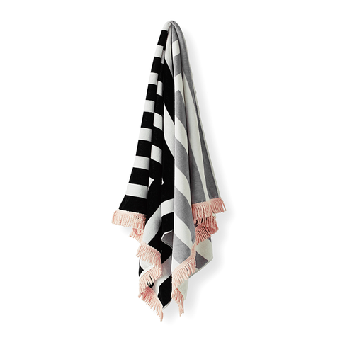 Corner Stripe Beach Towel | Black & Pink