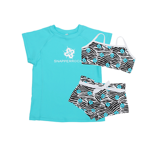 3 Piece Sport Swim Set | Zebra & Aqua