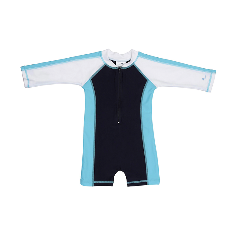 Sunsuit | Aqua & Navy
