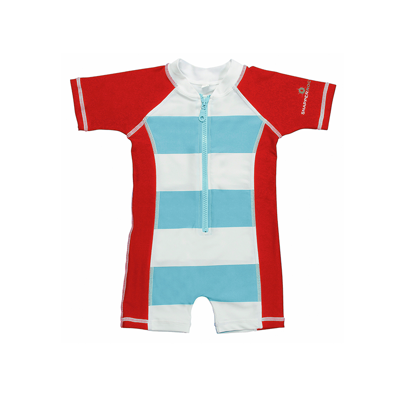 Sunsuit | Aqua & Red Stripe