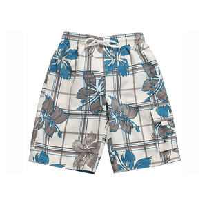Boardies | White & Blue Hawaiian Print