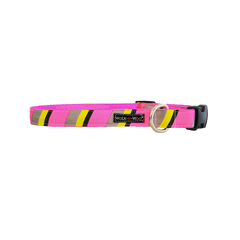 Dog Collar |  Pink & Grey Stripes
